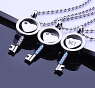 Personalized Gift Love Key Shaped Stainless Steel Jewelry  Engraved Pendant Necklace with  60cm Chain