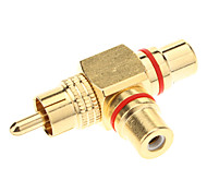 cheap -RCA Female to 2 Male AV Adapter (Golden)