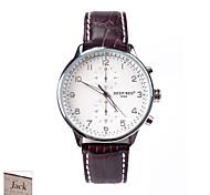 подарок на день мужская белый коричневый циферблат PU Группа аналогового выгравированы часы Персонализированные отца