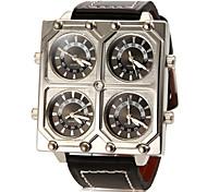 Men's Four Same Round Dial PU Band Quartz Analog Fashion Watch Cool Watch Unique Watch