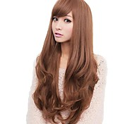 Women Synthetic Wig Capless Long Wavy Black Flaxen Light Brown Dark Brown Honey Brown Side Part With Bangs Natural Wig Costume Wigs