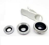 Universal Clip Lens Wide Angle + Macro + Fisheye Lens - Silver for iPhone 8 7 Samsung Galaxy S8 S7