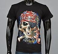 Herren T-shirt-Druck Freizeit / Sport Baumwolle Kurz-Schwarz