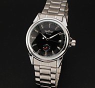 cheap -WINNER® Men's Automatic Self-Wind Auto Date Black Dial Silver Steel Band Analog Wrist Watch Cool Watch Unique Watch