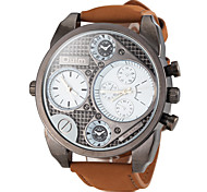OULM® Men's Watch Military Dual Time Zones Leather Band Cool Watch Unique Watch Fashion Watch