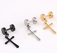 cheap -Men's Stainless Steel Drop Earrings - Cross For Christmas Gifts Wedding Party Daily Casual Sports