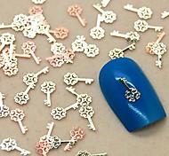 200pcs chave de ouro forma da fatia do metal nail art decoração