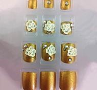 20pcs de ouro diamante&dicas da arte da flor de unha