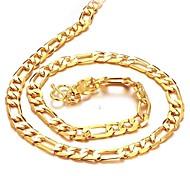 Homens Colares em Corrente Chapeado Dourado 18K ouro bijuterias Jóias Para Casamento Festa Diário Casual Presentes de Natal