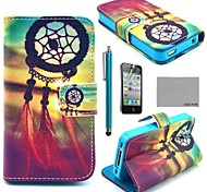 COCO FUN® Chinese knot Pattern PU Leather Full Body Case with Screen Protector, Stand and Stylus for iPhone 4/4S