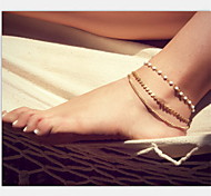 cheap -Pearl Imitation Pearl Anklet - Gold Unique Design Fashion European Others Pearl Imitation Pearl Alloy Anklet For Christmas Gifts Party