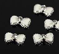 10pcs Lovely White Bow Tie Rhinestone 3D Alloy Nail Art Decoration