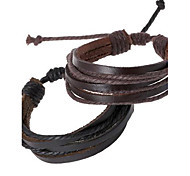 cheap -Men's Leather Bracelet Personalized Unique Design Handmade Fashion Leather Others Jewelry Dailywear Daily Costume Jewelry Black Brown