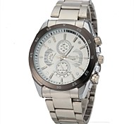 Men's Casual Style Silver Steel Band Quartz Wrist  Watch Cool Watch Unique Watch