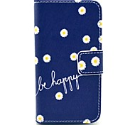 """Be Happy"" Words with Chrysanthemum Flower Pattern PU Leather Full Body Case for iPhone 4/4S"