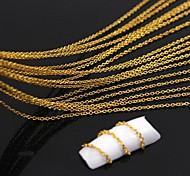 Недорогие -10 метров золотой покрытием металлическая цепь линии 3d сплава украшения искусства ногтя