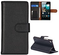 cheap -Case For Huawei Huawei P7 Huawei Case Card Holder Wallet with Stand Flip Full Body Cases Solid Color Hard PU Leather for Huawei P7 Huawei