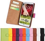 Pour Coque LG Porte Carte Portefeuille Avec Support Clapet Coque Coque Intégrale Coque Couleur Pleine Dur Cuir PU pour LG LG G3