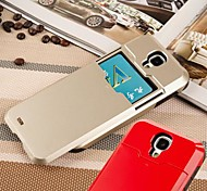 For Samsung Galaxy Case Card Holder / Shockproof Case Back Cover Case Solid Color PC Samsung S4