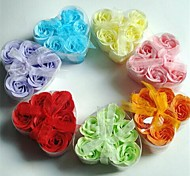 6 Romantic Heart-shaped Rose Soap Flowers(Random Color)