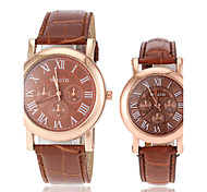 cheap -Couple's Casual Gold Case PU Band Quartz Wrist Watch (Assorted Colors) Cool Watches Unique Watches