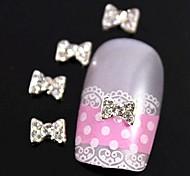 10pcs  Glitter Rhinestone  Bow Tie Alloy Accessories Nail Art Decoration