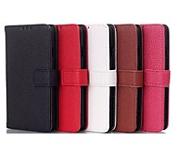 abordables -Litchi Stria Texture Belt Buckle TPU and PU Full Body Case with Card for LG F70 (Assorted Colors)