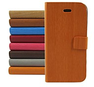 cheap -Wood Design Pattern PU Leather Full Body Cover with Stand for iPhone 4/4S (Assorted Color)