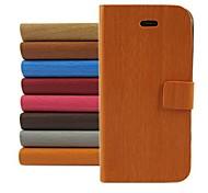 baratos -padrão de design madeira pu capa de couro de corpo inteiro com suporte para iPhone 4 / 4S (cores sortidas)