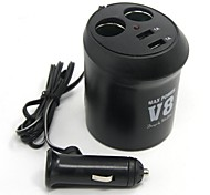 cheap -Tirol New 12V 2-Way Cup Holder Auto Adapter With 2Usb  Car Charger 5V/2A Splitter Power