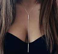 cheap -Women's Pendant Necklace Long Necklace - Long Fashion Double-layer Simple Style European Y Shaped Silver Golden Necklace For Party