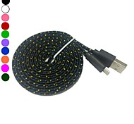 2M 6.6TF Micro USB Flat Noodle Fabric Braided Data Sync Charge Cable for Android Phone