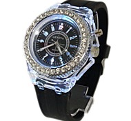 Women's LED Lights Drill Edge Silicone Band Quartz Analog Wrist Watch(Assorted Colors) Cool Watches Unique Watches