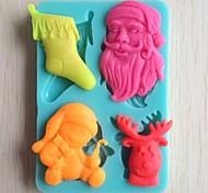 Недорогие -Рождественская елка колокол подарок медведь помадкой торт шоколадный силиконовые формы торт украшение инструменты, l10.6cm * w7.3cm * h1.1cm