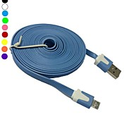 3M 10ft Flat Noodle Micro USB Data Sync Cable for HTC Nokia Samsung Sony LG(Assorted Color)