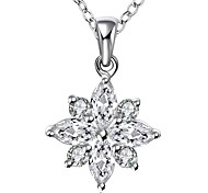 Cremation Jewelry 925 sterling silver Flower with Zircon Pendant Necklace for Women