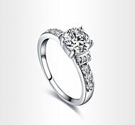4 Prongs Wedding Rings For women 18K Platinum Plated 1ct CZ Wedding Simulated Diamond Rings