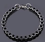 U7® Cool Black Box Chains Aluminium Alloy Bracelet Quality Jewelry 6MM