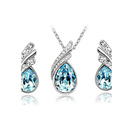 cheap -Women's Crystal Jewelry Set - Austria Crystal Drop Party, Casual, Basic Include Drop Earrings / Pendant Necklace / Pendant Red / Blue / Light Blue For Party / Special Occasion / Anniversary