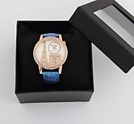 personalisierte modische Damenuhr Luxus-Diamant-Eiffelturm PU-Band
