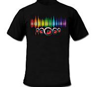 cheap -Sound and Music Activated EL Visualizer VU-Spectrum Dancer T-shirt (2*AAA)