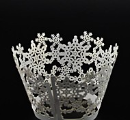 cheap -12pcs Laser Cut Snowflakes Cupcake Wrappers Muffin Cases Christmas Wedding Birthday Party Cake Decoartion