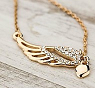 Love Is Your Diamond Hollow Out Angel Wings Pendant Necklaces