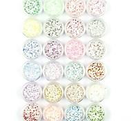 24PCS Snowflake Nail Art Glitter Powder Nail Art Foil Powder Arylic Powder for Nail Decorations