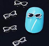 abordables -10pcs gafas negras dan forma aleación 3d decoración del arte del clavo