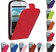 abordables -Funda Para Samsung Galaxy Funda Samsung Galaxy Flip Funda de Cuerpo Entero Color sólido Cuero de PU para S3 Mini