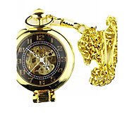 Men's Mechanical Gold Skeleton  Alloy Pocket Watch Cool Watch Unique Watch