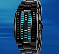abordables -Hombre Reloj Deportivo Reloj creativo único Reloj digital Digital LED Resistente al Agua Aleación Banda De Lujo Negro Plata Negro Plata