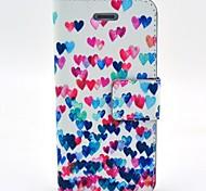 abordables -Coco Fun® colores corazón patrón pu estuche de cuero con protector de pantalla y el cable usb y el lápiz para el iphone 4 / 4s