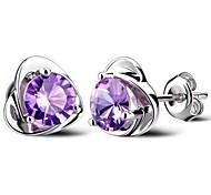 cheap -Women's Heart Sterling Silver Cubic Zirconia Stud Earrings - Heart Purple Earrings For Wedding Party Daily
